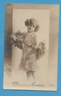 Bonne Année Petite Fille   Avec Fleurs - Neujahr