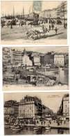 4 Cpa Marseille : Vieux Port, Cannebière (très Animées) - Vieux Port, Saint Victor, Le Panier