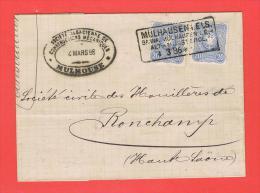 MÜLHAUSEN I. Els. Bahnp. Mülhausen I. E. Alt Münsterol 4.3.86 Pour Ronchamp Haute Saone - Soc.Alsacienne De Construction - Postmark Collection (Covers)