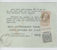 00511a Cappelen 1912 Bond Antwerpen Vooruit - Ledenkaart - Carte De Membre - 1905 Grosse Barbe