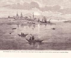 Image De Gravure - Port D'Okhotsk - Dessin De V.  Adam - Old Paper