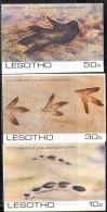 2684 Fauna Dinosaurs Pre-historic Fossils 1984 Lesotho 3v Set MNH ** Imperf Imp - Fossils