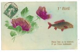 12gc CPA Gaufrée 1er Avril Roses Poisson - 1er Avril - Poisson D'avril