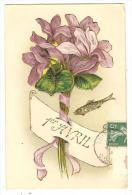 12gc CPA Gaufrée 1er Avril Bouquet D'Iris - 1er Avril - Poisson D'avril