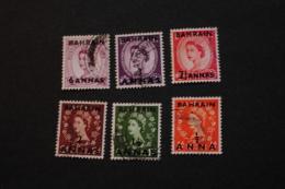 Bahrain Surcharges 6 Values Used Queen Elizabeth II 1952-54 A04s - Bahreïn (...-1965)