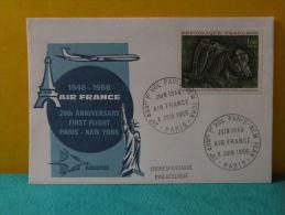 FDC, Air France Paris - New York - Paris - 8.6.1966 - 1er Jour, - 1960-1969