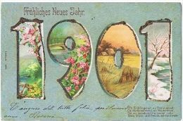 EMBOSSED POSTCARD - BEST WISHES FOR 1901 & FLOWERS - NATURE -   26 - Spain