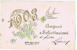 EMBOSSED POSTCARD - BEST WISHES FOR 1903 & SWALLOW & LUCKY SHOE HORSE - 25 - Spain