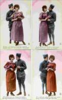 Série 4 Cartes-Amoureux,Militaire - Couples