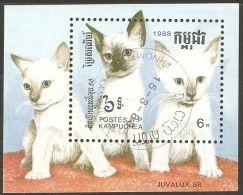 Cambodia 1988 Mi# Block 158 Used - Cats - Camboya