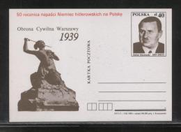 POLAND 1989 PC 50TH ANNIV START WORLD WAR 2 DEFENCE WARSAW MINT MERMAID STEFAN STARZYNSKI WW2 - Postwaardestukken