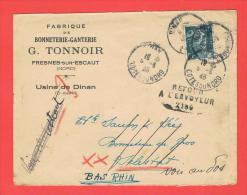 Dinan 1945 Fabrique De Bonneterie Ganterie  Arrivé à Malestroit Retour à L'envoyeur 2186 Pour Sélestat - Marcophilie (Lettres)