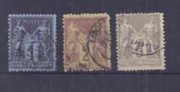 France YT° 84+85+86 - 1876-1898 Sage (Type II)