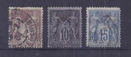 France YT° 88+89+90 - 1876-1898 Sage (Type II)