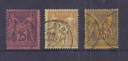 France YT° 91+92+93 - 1876-1898 Sage (Type II)