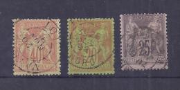 France YT° 94+96+97 - 1876-1898 Sage (Type II)