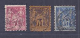 France YT° 98+99+101 - 1876-1898 Sage (Type II)