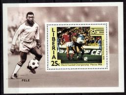 LIBERIA    EPREUVE DE LUXE  N° 1017   * *  Cup 1986   Football  Soccer Fussball Pele - Coupe Du Monde