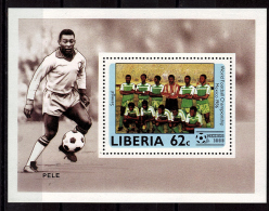 LIBERIA    EPREUVE DE LUXE  N° 1020   * *  Cup 1986   Football  Soccer Fussball Pele - Coupe Du Monde