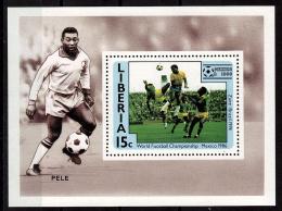 LIBERIA    EPREUVE DE LUXE  N° 1016   * *  Cup 1986   Football  Soccer Fussball Pele - Coupe Du Monde