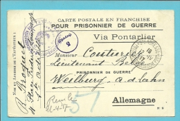 """Kaart """"Prisonnier De Guerre"""" Met Stempel STE-ADRESSE / POSTE BELGE Op 12/04/17 Naar WEILBURG - Guerre 14-18"""