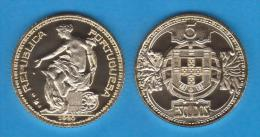 EXTREMELY RARE!!! PORTUGAL 5 ESCUDOS 1.920 GOLD UNC PROOF T-DL-10.607 COPY Austria - Portugal
