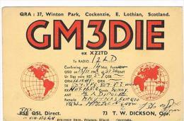 QSL CARD - GRAN BRETAGNA (UNITED KINGDOM)  - 1948 COCKENZIE, SCOTLAND (GLOBE) - RIF. 71 - Radio Amateur
