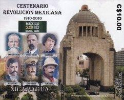 G)2010 NICARAGUA, CENTENNIAL MEXICAN REVOLUTION, REVOLUTION MONUMENT, CARRANZA-MADERO-SERDAN-ZA PATA-OBREGON-VILLA, MNH - Nicaragua