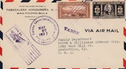 AIR MAIL COVER, 3/27/1937 - Honduras