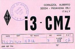 "QSL CARD - ITALIA (ITALY) - 1973 PEDAVENA (BL) ""DOLOMITI AWARD"" -  RIF. 74 - Radio Amatoriale"