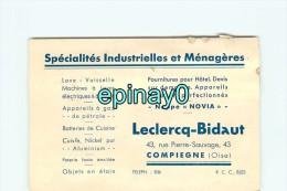 60 - COMPIEGNE - CARTE DE VISITE PUBLICITAIRE - SPECIALITES INDUSTRIELLES Et MENAGERES - LECLERCQ BIDAUT Pierre Sauvage - Visiting Cards