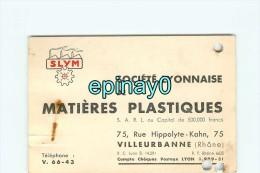 63 - VILLEURBANNE - CARTE DE VISITE PUBLICITAIRE - SOCIETE LYONNAISE De MATIERES PLASTIQUES - Rue Hippolyte Kahn - Visiting Cards