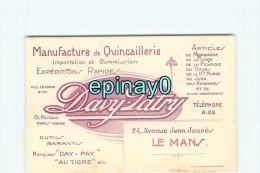 72 - LE MANS - CARTE DE VISITE PUBLICITAIRE - DAVY & PATRY - QUINCAILLERIE - 24 Avenue Jean Jaurés - Visiting Cards