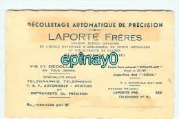 74 - CLUSES - CARTE DE VISITE PUBLICITAIRE - LAPORTE Fréres - Décolletage Automatique De Précision - Visiting Cards