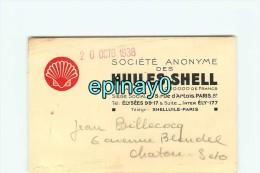 75008 - PARIS - CARTE DE VISITE PUBLICITAIRE - SOCIETE Des HUILES SHELL  Au 45 Rue D'Artois - Visiting Cards