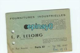 75011 - PARIS  - CARTE DE VISITE PUBLICITAIRE - E. P. LELONG - 51 Rue Amelot - Fournitures Industrielles - Visiting Cards