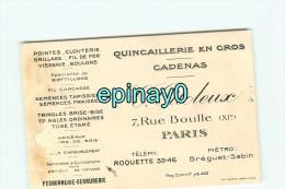 75011 - PARIS - CARTE DE VISITE PUBLICITAIRE - C. CITILEUX - 7 Rue Boulle - Quincaillerie En Gros - Cadenas - Visiting Cards