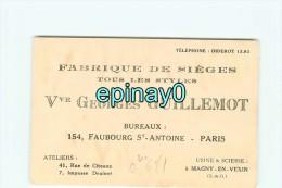 75011 - PARIS  - CARTE DE VISITE PUBLICITAIRE - Vve Georges GUILLEMOT - 154 Faubourg St Antoine - Fabrique De Siéges - Visiting Cards