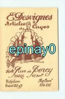 75012 - PARIS  - CARTE DE VISITE PUBLICITAIRE - E. DESVIGNES - Articles De Caves - 104 Rue De Bercy - Visiting Cards