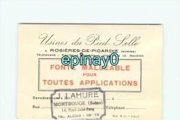 80 - ROSIERES DE PICARDIE - CARTE DE VISITE PUBLICITAIRE - J. LAHURE -  Usines De Pied De Selle - Fonte Malléable - Visiting Cards