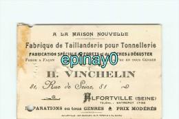 94 - ALFORVILLE - CARTE DE VISITE PUBLICITAIRE - H. VINCHELIN - Rue De Seine - Fabrique De Taillanderie Pour Tonnelerie - Visiting Cards