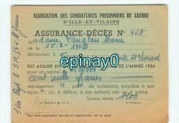 35 - FOUGERES - CARTE DE VISITE PUBLICITAIRE - ASSURANCES DECES - ASSOCIATION DES COMBATTANTS PRISONNIERS DE GUERRE - Visiting Cards