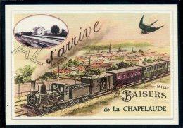 03   LA  CHAPELAUDE   ......  TRAIN  ..souvenir Au Fusain Creation Moderne Série Limitée Et Numerotée 1 à 10 ... N° 2/10 - France