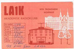 QSL CARD - NORVEGIA (NORWAY) - 1968 TRONDHEIM, AKADEMISK RADIOKLUBB -  RIF. 100 - Radio Amateur