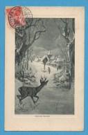 Bonne Année  Paysage  Enneigé Sous Bois Avec Cerf  Timbre Et Oblitération Suisse La Chaux De Fonds - Neujahr