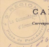 Cachet Triple Couronne - 3e Région - Place De Pont-Audemer - Le Commandant D'Armes - Circulé 1916 Sur CP Paris - Postmark Collection (Covers)