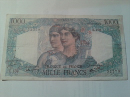"1000 FRANCS MINERVE ET HERCULE  ""23-8-1945 M"". - 1871-1952 Circulated During XXth"