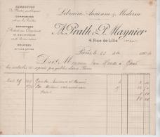 00729a Paris 1904 Facture Librairie A.Prath & P.Maynier 4 Rue De Lille - France
