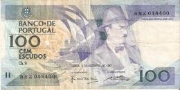 BILLETE DE PORTUGAL DE 100 ESCUDOS  DEL AÑO 1987 SERIE BMZ (BANKNOTE-BANK NOTE) - Portugal