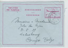 00775a Bruxelles-Brussel (T4T) 1959 Aerogramme 4F V. Luluabourg Belgisch Congo Belge - Stamped Stationery